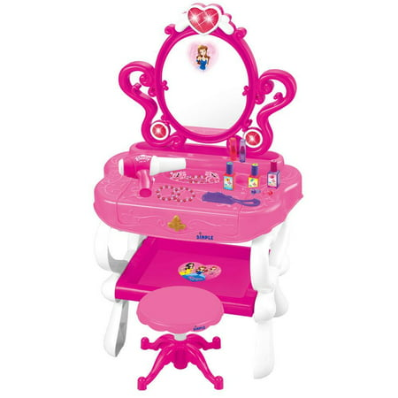 Princess Vanity Set with 16 Fashion & Makeup Accessories, Functional Piano Keyboard & Flashing Lights by Dimple Little girls and boys love make-believe. Whether getting into character as their favorite movie princesses, or pretending to be the next big music sensation to hit the media spotlight, imagination is the cornerstone of childhood. Our 16 piece piano and vanity set is perfect for providing hours of imaginative entertainment for your tot. They can use the 16 piece vanity set to do their hair and makeup and then flip open the table to reveal a fully functional keyboard with programmed songs. Included in Box1 Vanity set1 Built-in working 18 key piano1 Built-in Princess Mirror1 Built-in lower shelf 1 Stool 3 Nail polish bottles 2 Lipsticks1 Combs1 Blow-dryer2 Bracelets2 Necklaces 2 Rings 2 Flower decorated hair accessoriesGo-To FunWith this toy you can give them a space to be the king or queens of their room. Make it the focal point of the bedroom or classroom and let it be a fun space for imagination and creative play to flourish! Imaginative PlayImaginative Play is vital for normal child development. This Dimple set will instantly become a favorite of your child with its myriad of uses and fun accessories. Hours of RecreationYour child can be anything for hours! With the wide range of included accessories, the skyâ s the limit and guarantees hours of fun! Mess FreeWhile highly realistic, none of the make-up pieces are real or will create a mess, they are all for pretend application and contain nothing that can spill or apply to surfaces and make messes. Lights and SoundAdd more dimensions to playtime with lights and sound. The blow-dryer has a built in motor and the keyboard makes noise along with a light show and pre-programmed songs.