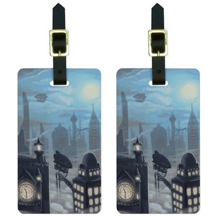Steampunk City Steam Airship Dirigible Zeppelin Luggage Tags ID, Set of 2](Steampunk City)