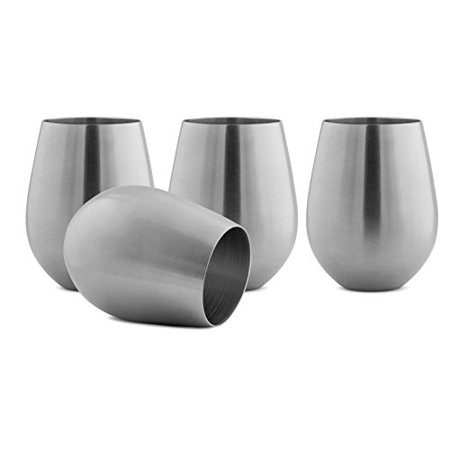 Modern Innovations Stainless Steel Stemless Wine Glasses, Set of 4, 18 Oz Tumblers Made of BPA Free Dishwasher Safe Unbreakable Shatterproof SS Great for Camping, Picnics, Daily, Formal & Outdoor Use ()