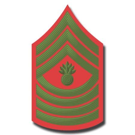 3.8 Inch USMC E-9 MASTER GUNNERY SERGEANT GREEN / RED CHEVRON