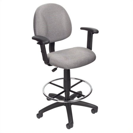 Boss Office Contoured Fabric Drafting Chair-Black - image 1 de 4