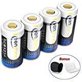 Keenstone RCR123A Rechargeable Camera Batteries 4Pcs 700mAh RCR123A Protected Rechargeable Li ion Batteries w