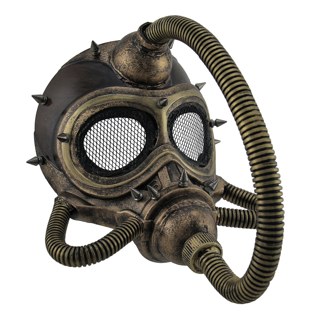 Metallic Spiked Steampunk Submarine Gas Mask by Kbw Global Corp