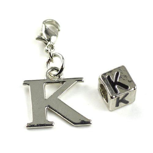 "Cousin Metal ""K"" Charm/Bead, 2-Piece"