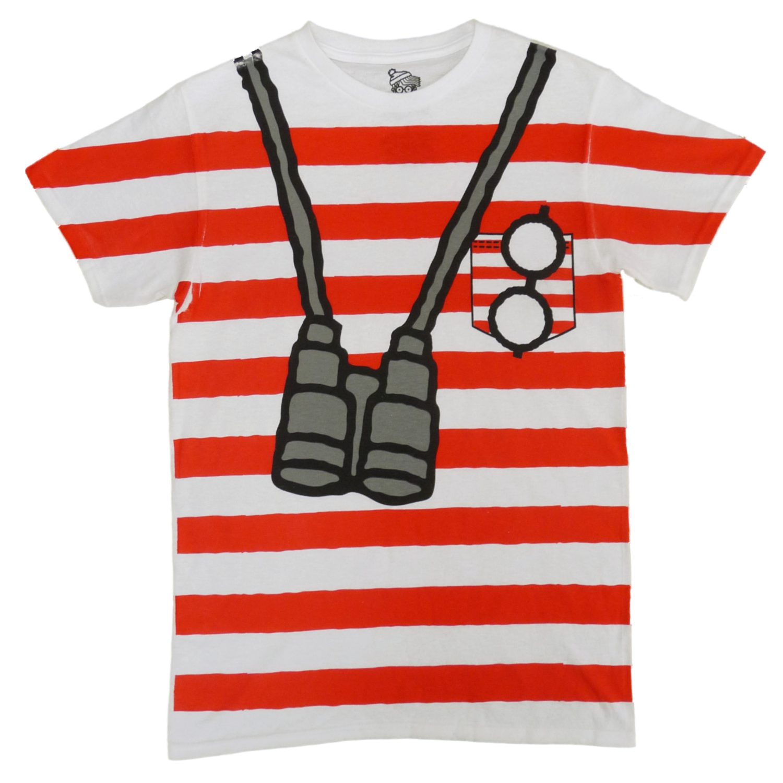 Where's Waldo Mens Red & White Striped Costume T-Shirt - Walmart.com