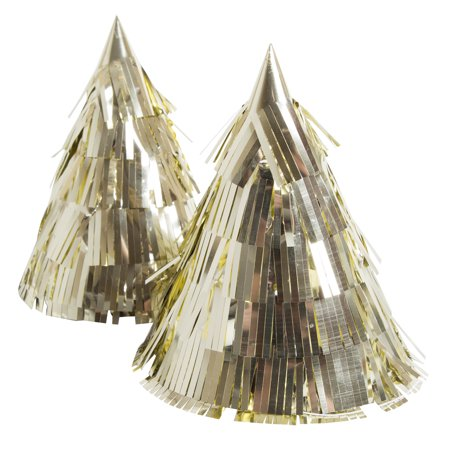 Fringed Foil Gold Party Hats, - Gold Party Hats
