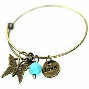 Bracelet-Antique Brass Finish With Charms