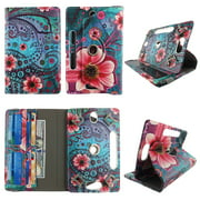 """Pink Flower Paisley tablet case 8 inch for universal 8"""" 8inch android tablet cases 360 rotating slim folio stand protector pu leather cover travel e-reader cash slots"""