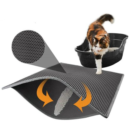 Black Pets Cat Litter Trapper Catcher with Double Layer Urine Proof Odor Resistant Prevents Litter