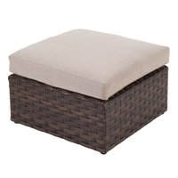Better Homes & Gardens Harbor City 2-Piece Patio Ottoman Set with Beige Cushions