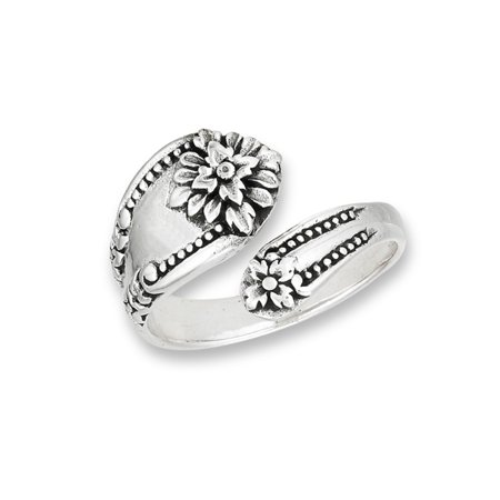 .925 Sterling Silver Floral Design Spoon Style Cast Wrap Ring Size 10 thumbnail