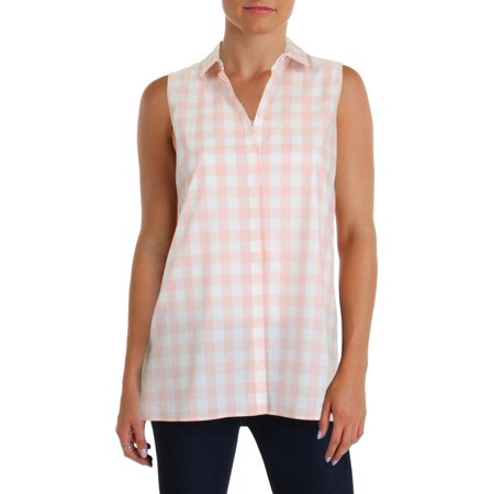 32870b97cff47 Lafayette 148 New York - Lafayette 148 New York Womens Justin Check Print  Sleeveless Button-Down Top - Walmart.com