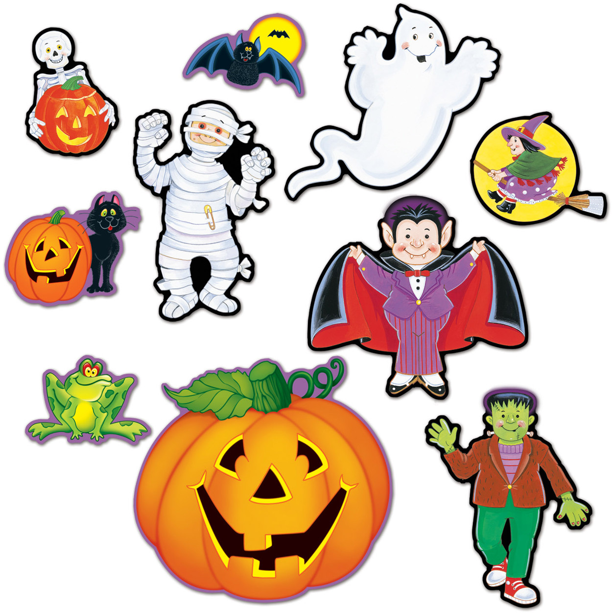"Set Of 10 5""-12"" Halloween Character Cutouts Party Decorations"