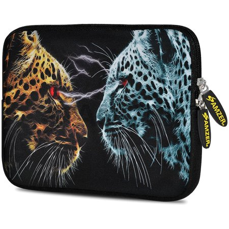 Designer 7.75 Inch Soft Neoprene Sleeve Case Pouch for Alcatel ONETOUCH POP 7 LTE, Acer Iconia One 7, LG G Pad, Amazon Fire 7, Kindle/ Kindle HD 7, RCA 7 Tablet - Leopard Face (Turn Off Voice Control On Kindle Fire)