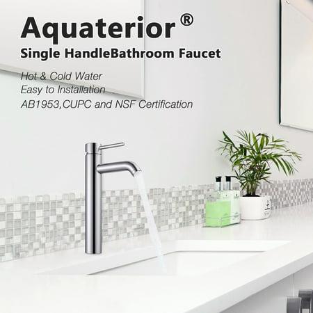 Aquaterior® Bathroom Vessel Sink Faucet Single Handle One Hole Tall Body Bathroom Faucet Chrome 12-1/2