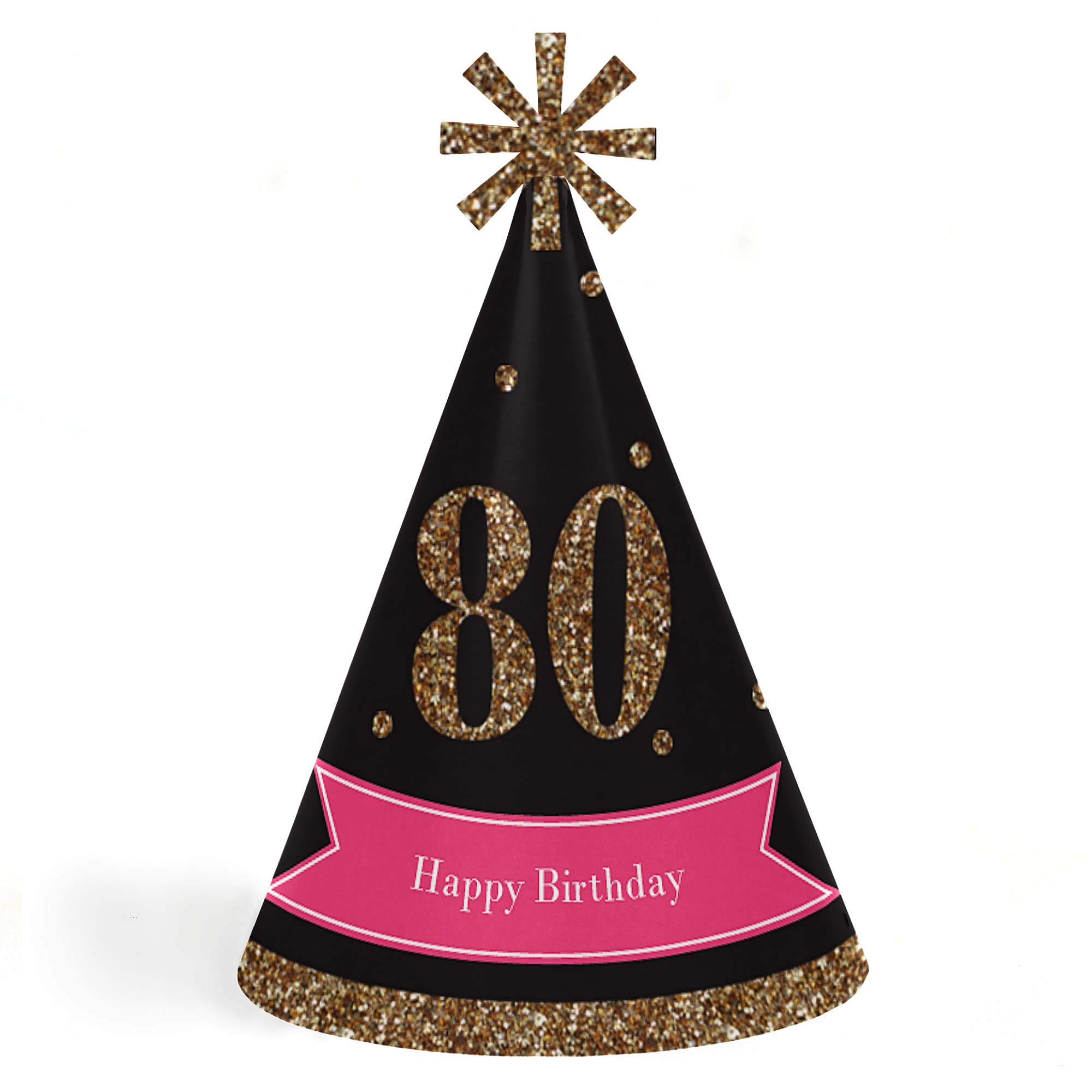 Chic 80th Birthday - Pink, Black and Gold - Cone Happy Birthday Party Hats for Kids and Adults -Set of 8 (Standard Size)