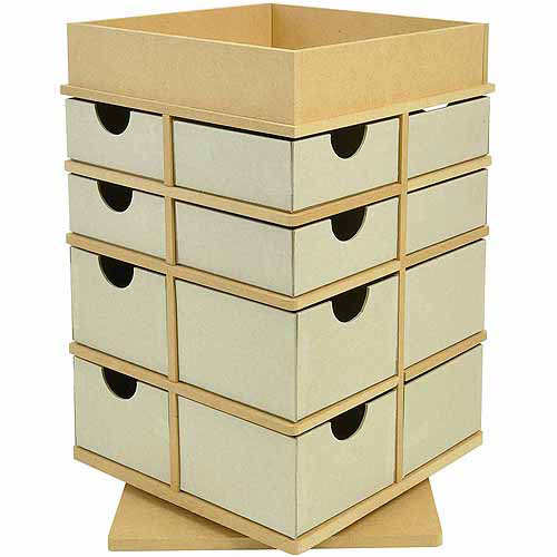 "Kaisercraft Beyond The Page MDF Turntable Drawers With Tray Top-12.75""X8.25""X8.25"" (325x210x210mm)"