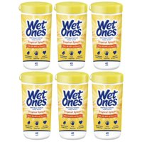 (6 Pk) Wet Ones Antibacterial Hand Wipes Canister, Citrus, 40 Ct