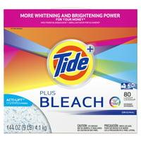 Tide Plus Bleach, Powder Laundry Detergent, 144 Oz 80 loads