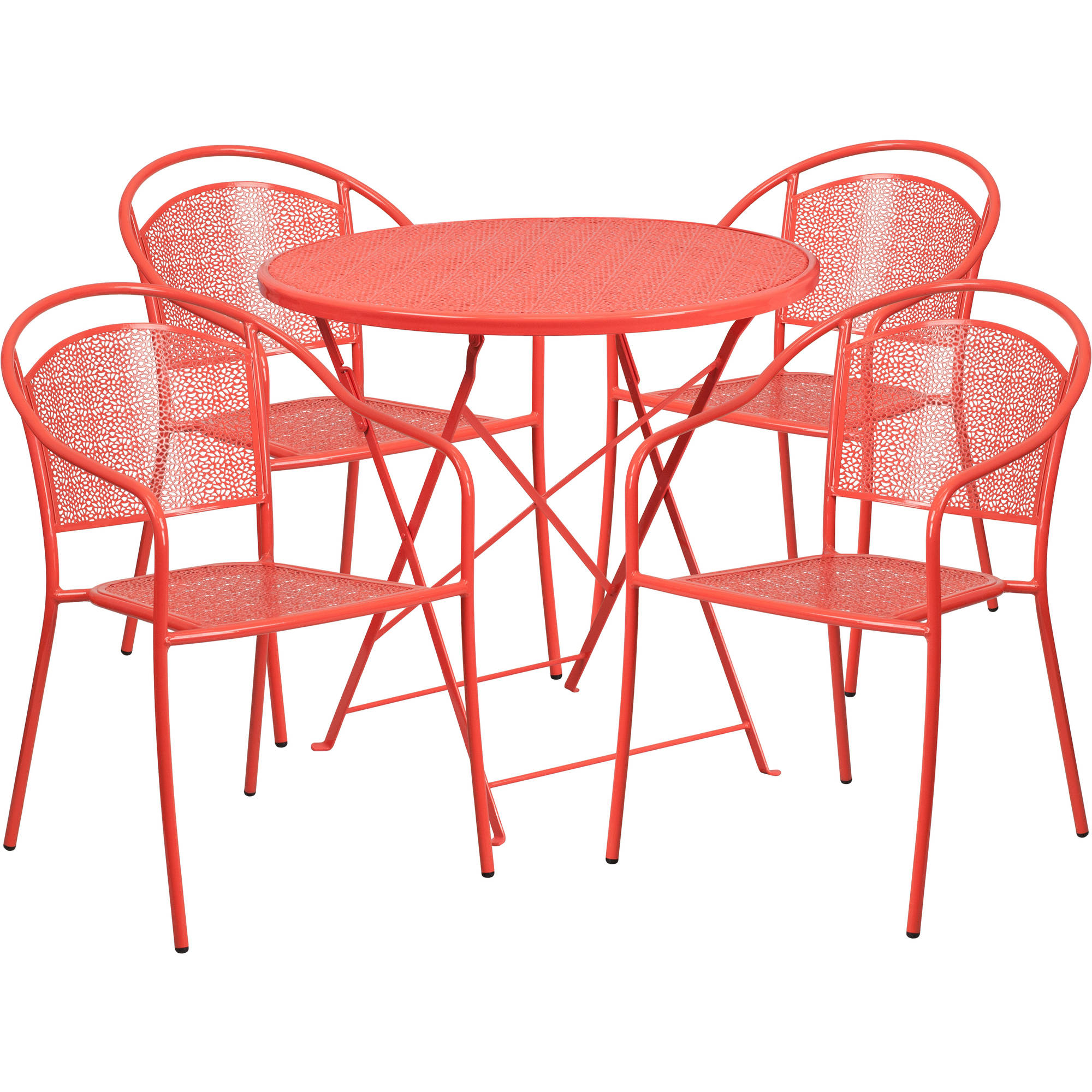 Flash Furniture 30'' Round Indoor-Outdoor Steel Folding Patio Table Set with 4 Round Back Chairs, Multiple Colors
