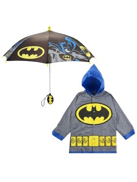 DC Comics Batman Slicker and Umbrella Rainwear Set, Little Boys, Age 2-7