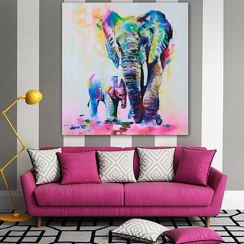 Girl12Queen Multicolor Elephant Pattern Canvas Painting Frameless Pictures Living Room Decor