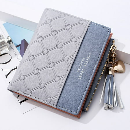 Pink Leather Checkbook Wallet - Mini Fashion Wallets Female PU Leather Wallet Ladies Purse Zipper Clutch Bag Money Card Holder for Women Girl(Gray)