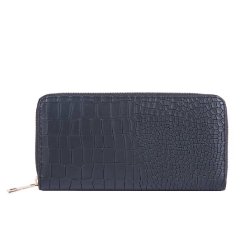 Multi-Function Zip Around Black Croco Faux-Leather Clutch Wallet