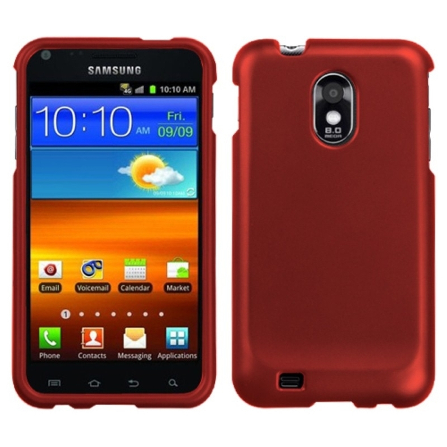 Insten Titanium Solid Red Phone Case for SAMSUNG: D710 (Epic 4G Touch), R760 (Galaxy S II), Galaxy S II 4G