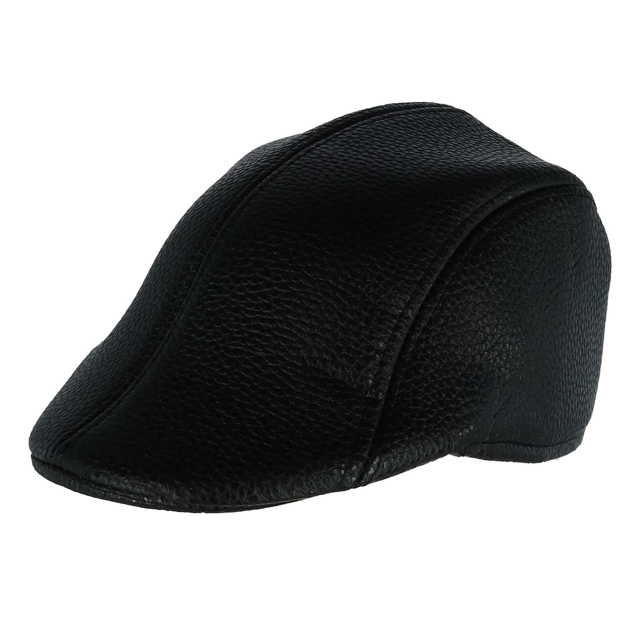 Westend Men s Black Faux Leather Ivy Cap 836478e0e66
