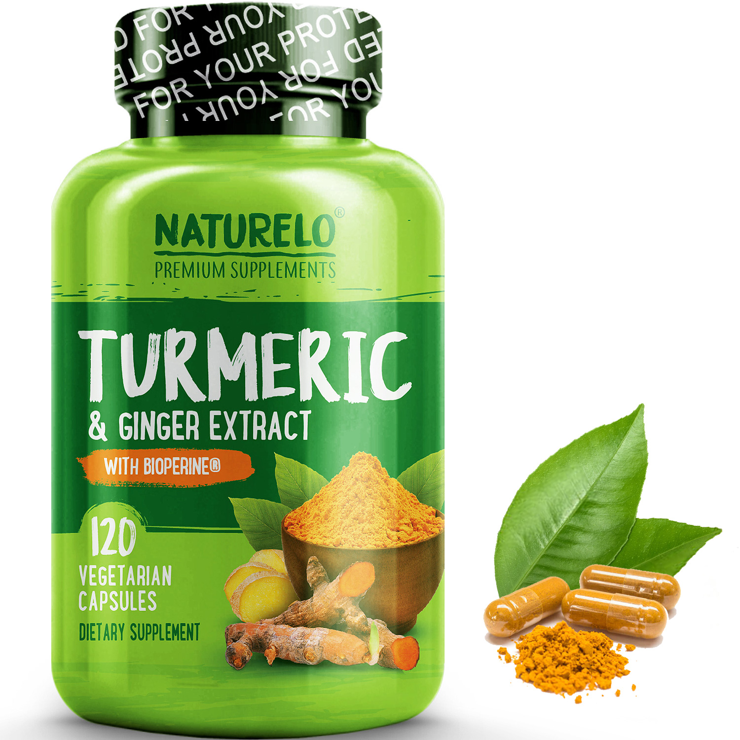 Turmeric Powder with Ginger Extract - Added BioPerine for Better Absorption - 120 Capsules