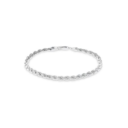 Sterling Silver Diamond Cut Rope Chain Bracelet 7.5 inches Diamond Cut Rope Chain Bracelet