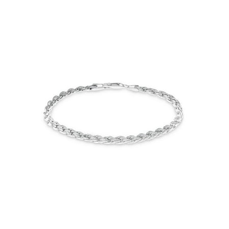 Sterling Silver Diamond Cut Rope Chain Bracelet 7.5 inches