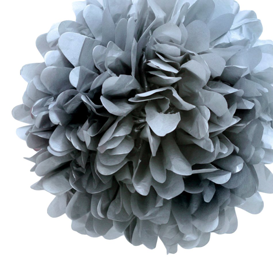 Quasimoon EZ-FLUFF 8'' Silver Tissue Paper Pom Pom Flowers, Hanging Decorations (4 Pack) (Pre-Folded) by PaperLanternStore