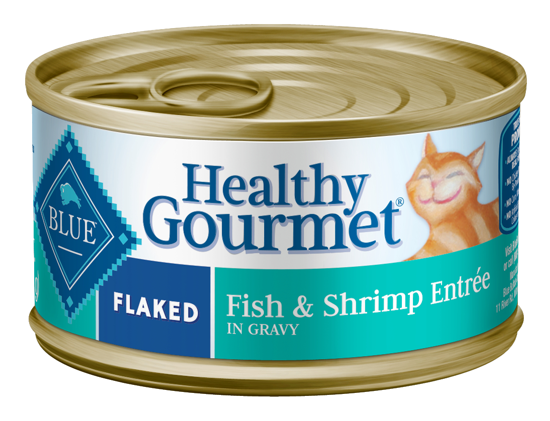Blue Buffalo Healthy Gourmet Natural Adult Flaked Wet Cat Food, Fish & Shrimp Entree, 5.5-oz cans, Case of 24 by Blue Buffalo