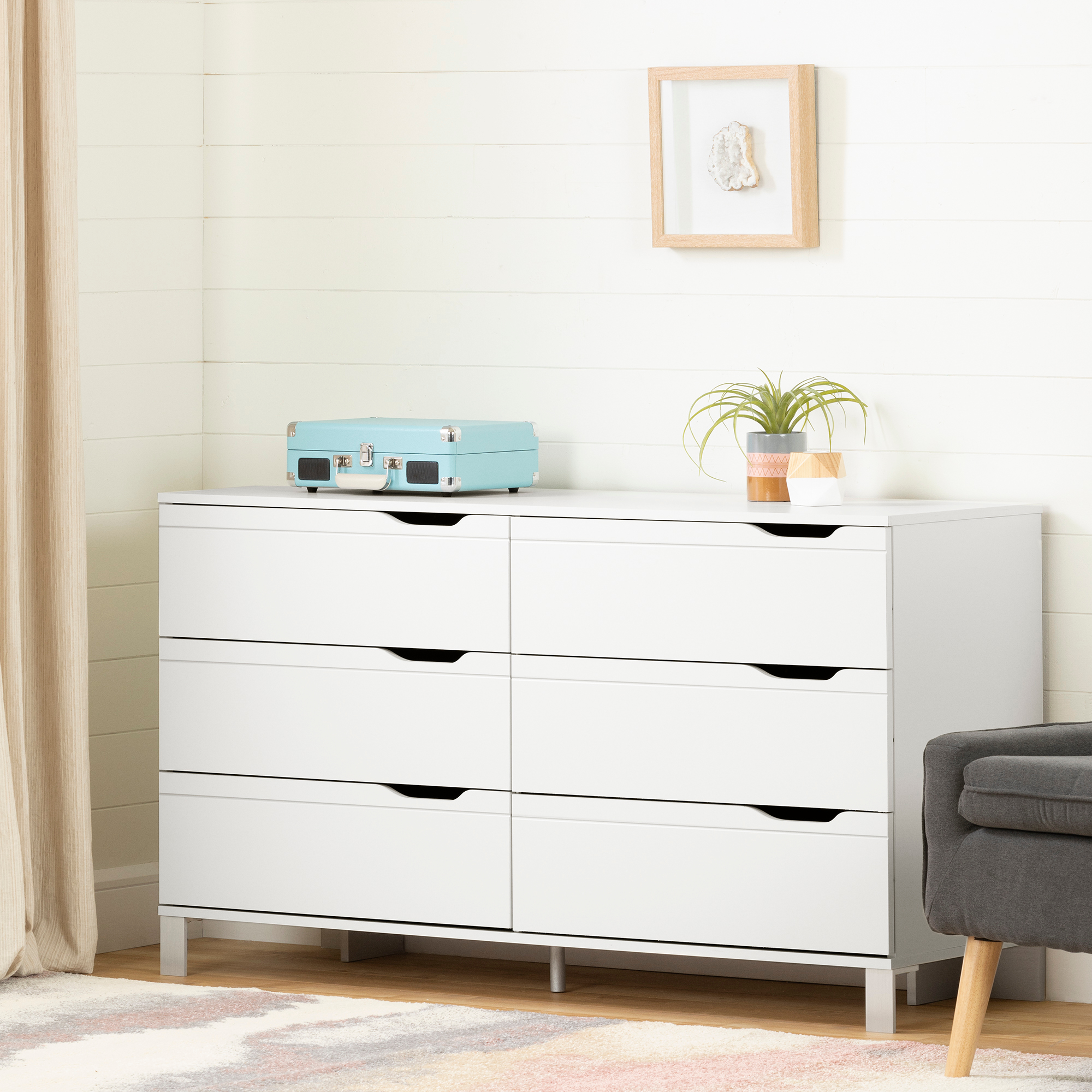 South Shore Kanagane 6-Drawer Double Dresser , White