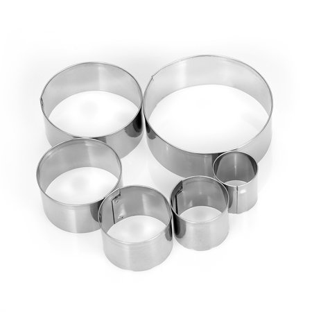 6pcs Round Stainless Steel Cookie Cutters Fondant Cutter Biscuit Cutters Sandwich Cutters Cookie Cutter