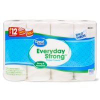 Great Value Everyday Strong Paper Towels, Split Sheets, 4 Triple Rolls