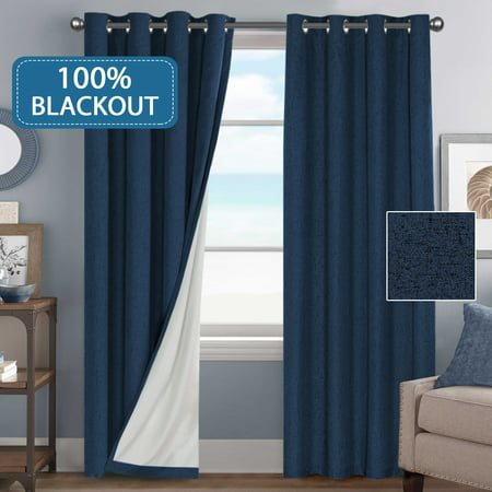 (Set of 2) Outdoor/ Indoor Waterproof 100% Blackout Thermal Insulated Textured Rich Material Linen Curtains Traditional Antique Grommet Curtain Panels, 52 x 96 inches - Navy
