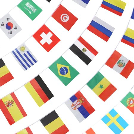 String Flag for 2018 World Cup, Group Match 32 Teams Countries Soccer Decoration Banners for Restaurants, Sport Bars, Game Night - 33 Feet 32 Flags