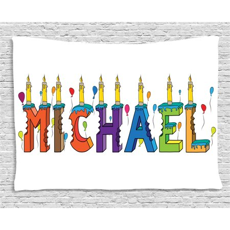Michael Tapestry, Festive Gathering Theme Colorful Birthday Cake Design Joyous Composition of Letters, Wall Hanging for Bedroom Living Room Dorm Decor, 80W X 60L Inches, Multicolor, by Ambesonne