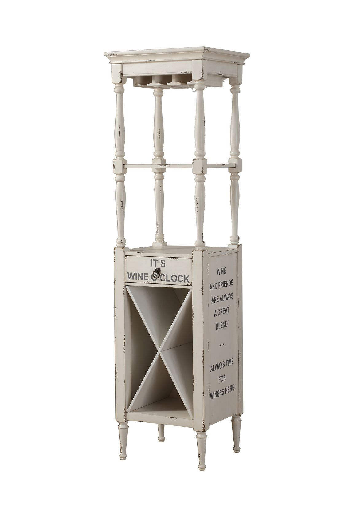 ACME Anthony Wine Cabinet in Antique White , Stemware Rack by Acme Furniture