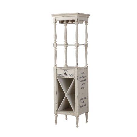 (ACME Anthony Wine Cabinet in Antique White , Stemware Rack)