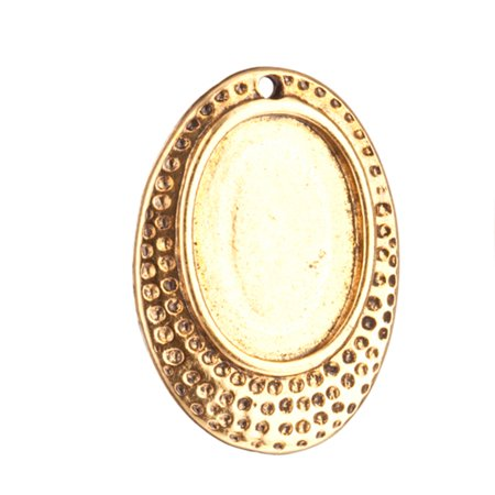 Drop/Pendant trays, Antique-Gold Finished Hammer Tone Oval Cabochon Setting 22.9x16.2mm Fits 10x14mm - Oval Cabochon Setting
