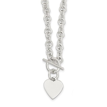 Sterling Silver Engraveable Heart Disc on Fancy Link Toggle Necklace QG1149