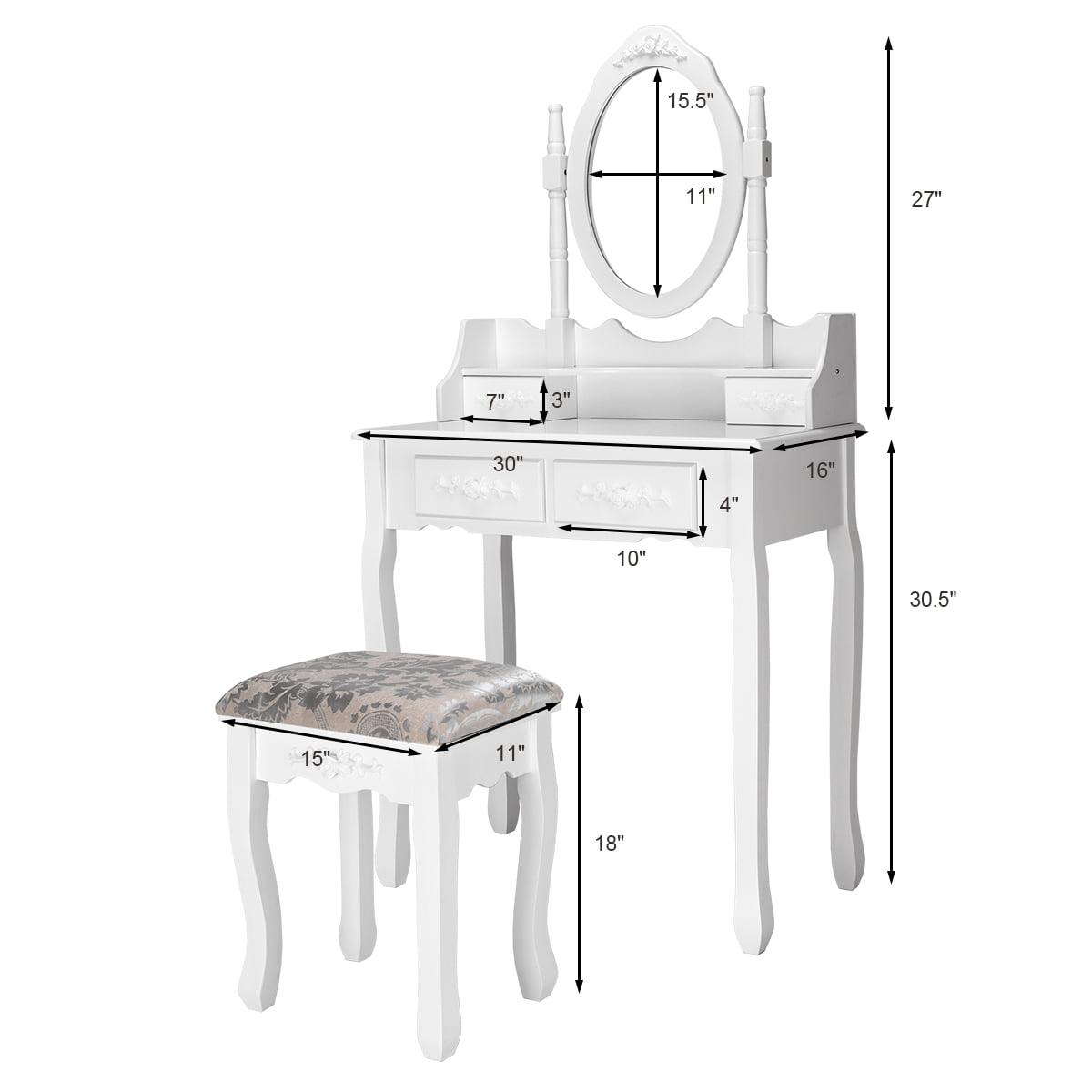 Black Vanity Makeup Dressing Table Set W//Stool 5 Drawer/&Mirror Jewelry Wood Desk