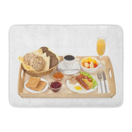 Jam Tray - GODPOK Orange Appetizer Breakfast Tray Consisting Fried Egg with Sausage Coffee Jam and Bread on White Closeup Rug Doormat Bath Mat 23.6x15.7 inch