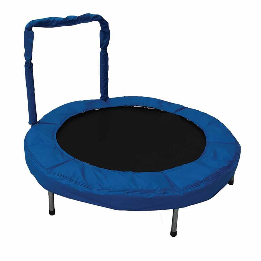 JumpKing 48-Inch Bouncer Kids Mini Small Trampoline with Handrail, Blue
