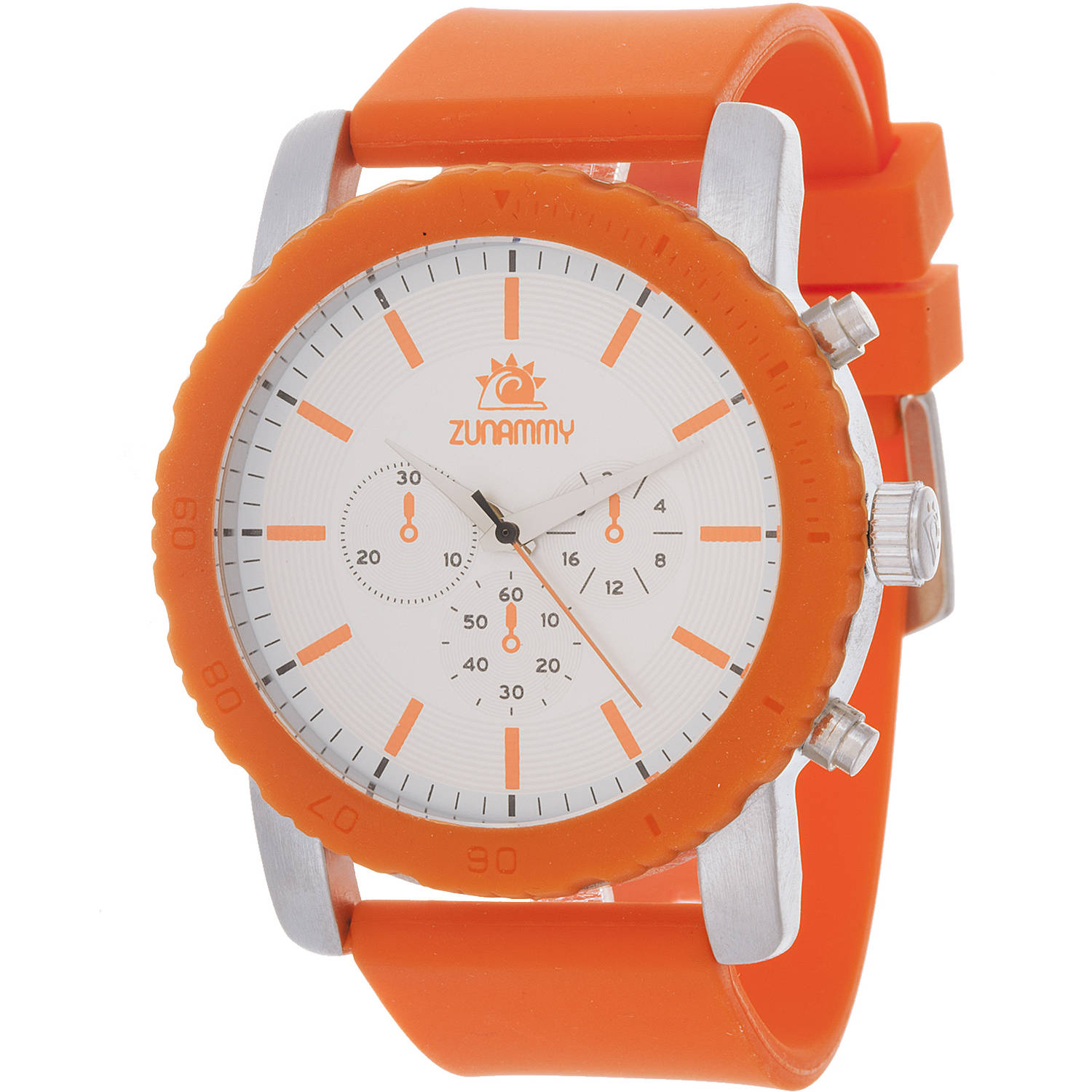 Zunammy Men's Sport and Fashion Watch, Orange Rubber Strap