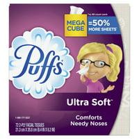 Puffs Ultra Soft Non-Lotion Facial Tissue, 1 Mega Cube, 72 Tissues per Cube